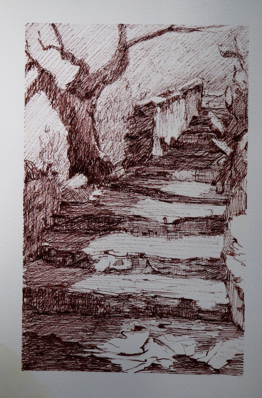 drawing, Roman stairs
