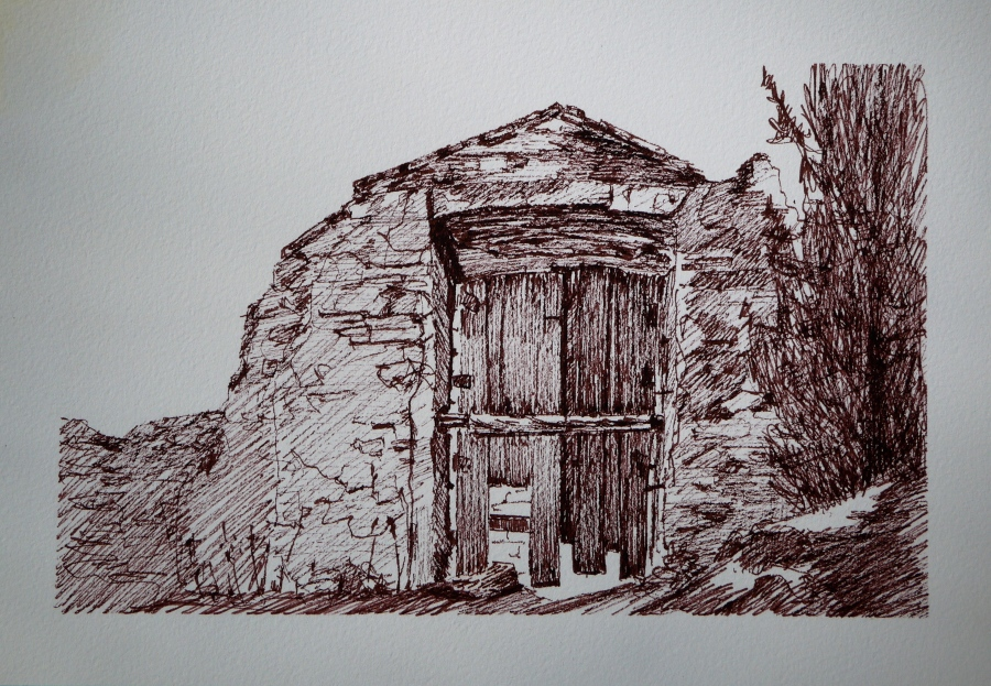 drawing, ruin door