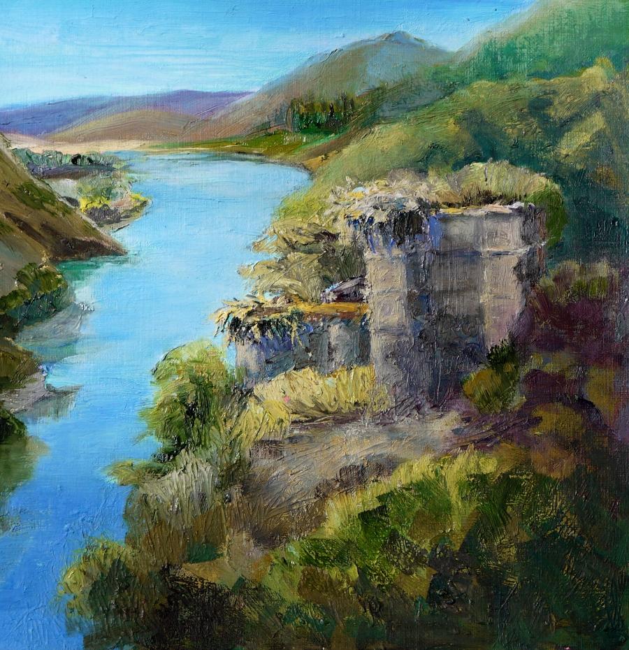 sketch, river ruins