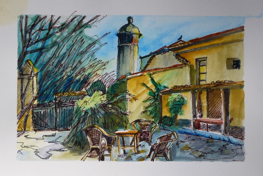 water color sketch, convent grounds