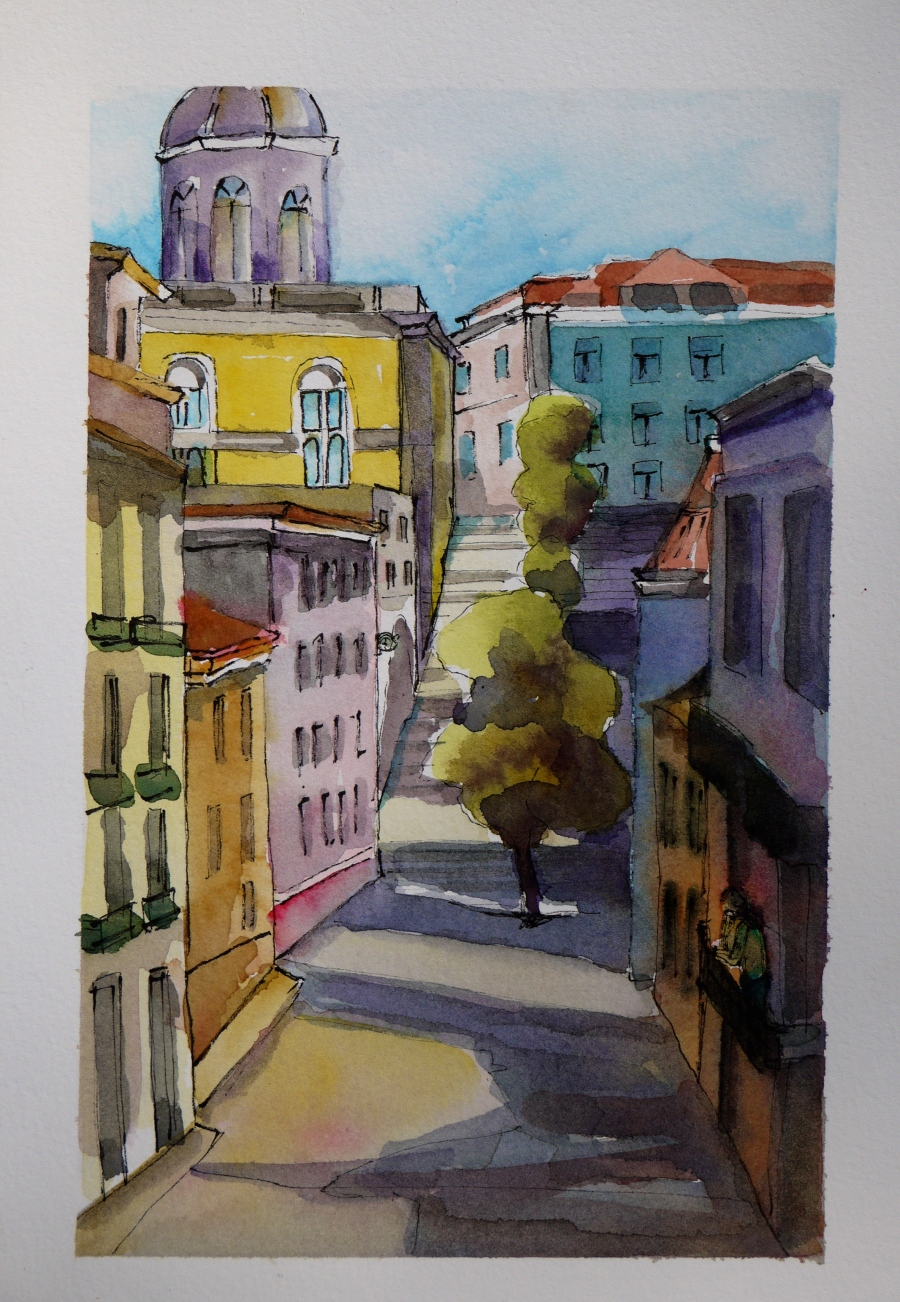 water color sketch, Lisbon area